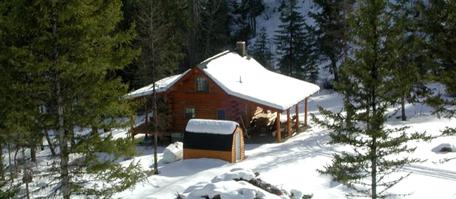Lost Lake Cabin in the snow, Montana